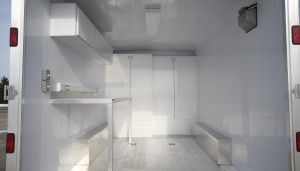 Rear storage area of support trailer