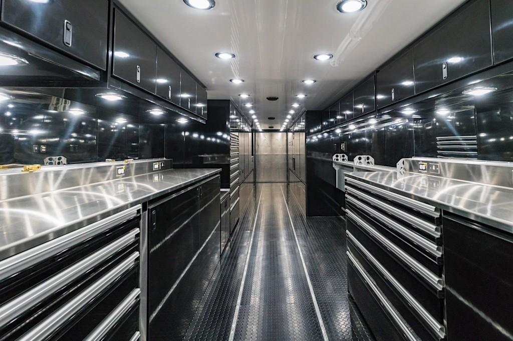 Interior of race transporter