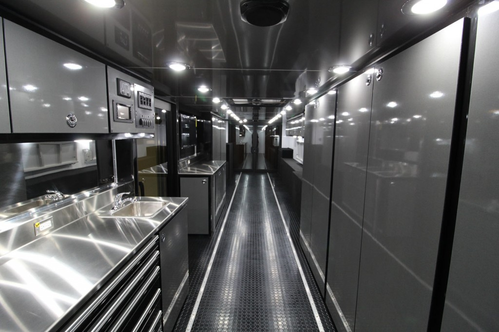 Interior of motocross trailer