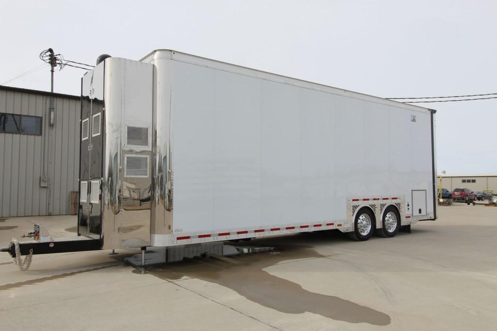 Exterior of motocross trailer